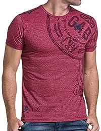 BLZ jeans - T shirt homme rouge chiné imprimé avec poche