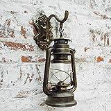 Injuicy Lighting E27 Vintage Retro Linterna Hierro Farol de Luces de Pared Queroseno Lámparas Apliques Bar de Pasillo Lámpara de Pared Kerosene Lámpara de Aceite (Bronce)