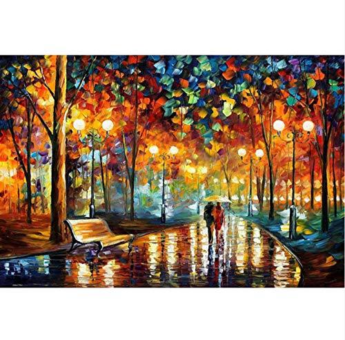 WHXJ Pareja Caminando En La Lluvia Paraguas 5D Pintura Diamante Bricolaje Punto De Cruz De Diamantes Bordado Mosaico Cama Decoración De Habitación 50X50Cm