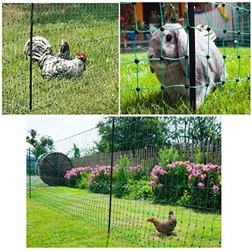 Preisvergleich Produktbild grüner Garten-Elektrozaun bis 50m ausrollbar / 112cm hoch mobil und flexibel inkl. 14 Pfähle + Heringe (nur 5,9cm Maschenweite) Hundezaun Katzenzaun Hühnerzaun Geflügelzaun Geflügelnetz Schafzaun Zaun grün Weidezaun Hunde Katzen Kaninchen Gartenzaun