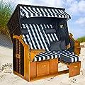 Strandkorb BALTIC-R BLB XXL, anthrazit, blau-weiß karierter Bezug, von LILIMO