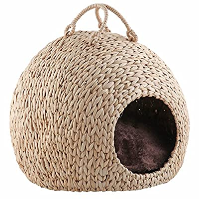 Bunty Wicker Cat Kitten Bed Basket Pet Sleeping House Pod Cave Cusion Small Dog Puppy