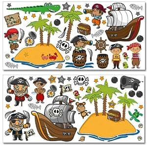 Adesivi murali Wandkings Pirati alla caccia del tesoro Kit di adesivi in confezione gigante - oltre 80 adesivi su 2 fogli da 130 x 70 cm cadauno