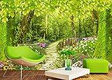 Maßgeschneiderte Fototapete Waldweg Blume Gras Landschaft Hintergrund Wandbild Wohnzimmer Schlafzimmer 3D Wallpaper