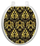 Toilet Tattoos TT-1037-R Rococo Black and Gold Design Toilet Seat Applique, Round