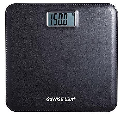 GoWISE USA GW22035 Electronic Personal Digital Scale w/ Step-On Techonology & Wide Platform & LCD Display 400LB Capacity Black by GoWISE USA