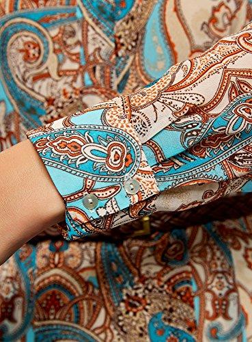 oodji Collection Damen Druckkleid aus Chiffon Beige (7333E)
