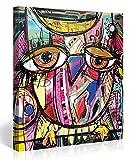 Premium Kunstdruck Wand-Bild – Doodle Owl - 80x80cm - Leinwand-Druck in deutscher Marken-Qualität – Leinwand-Bilder auf Holz-Keilrahmen als moderne Wanddekoration