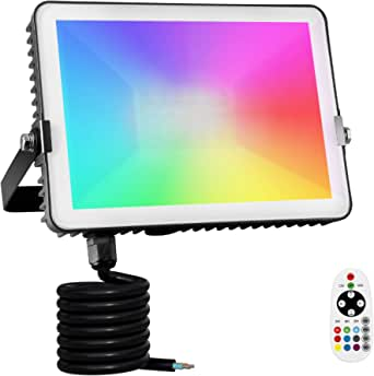 Albrillo Rgb Spotlight Dimmable Outdoor Spotlight With Timer Function Multi Colour Changing Light Modes Selectable Waterproof Ip66 Led Floodlight As Decoration For Outdoor And Indoor Use 3m Cable 360