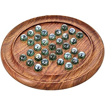 Games Solitaire Board in Wood with Glass Marbles