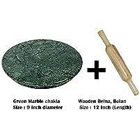 Truvic Green Marble Roti Roller/Chakla-Belan/Rolling Pin, 22 Cms