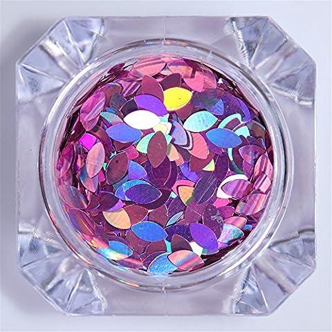 NicoleDiary 2g Flakes Holographic Marquise Glitzer Sequins Paillette Nail Art Dekoration # 1 (Weihnachten Acryl Nail Art)