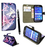 Samsung Galaxy A5 2016 (SM- A510) Case, Kamal Star® PU Leather Premium Magnetic Flip Case Cover + Stylus (Butterfly Blue Book)