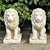Par pequeño orgullosos leones tapas de Pilar Estatua de piedra