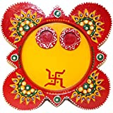 Diwali Gifts | Diwali Home Decor Gifts | Diwali Decoration For Home | Wooden Paper Mache Work Multicolor Pooja Thali With Dia (8 X 4 X 8 IN)