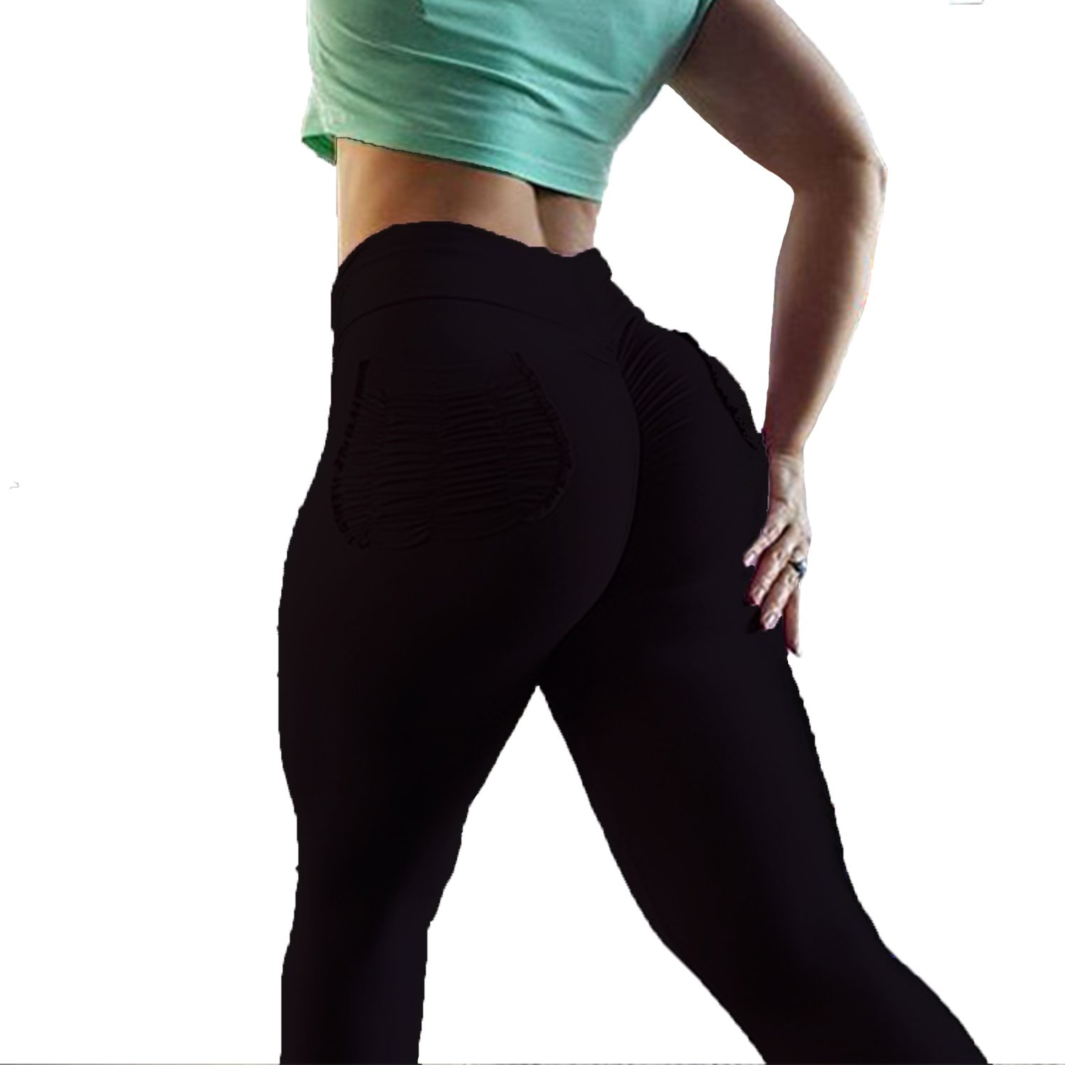 f5e3b6001f098 YOFIT Women Ruched Butt Yoga Pants Lifting Leggings High Waisted with  Pockets Sport Tummy Control Gym - UKsportsOutdoors