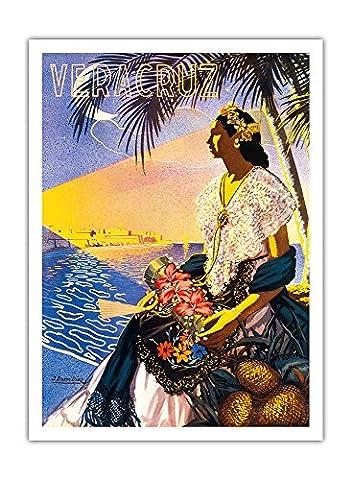 Veracruz, Mexique - - Affiche ancienne vintage tourisme voyage du monde mondial Poster by T. Bueno Diaz c.1951 - Prime 290gsm Giclée Imprime - 30.5cm x