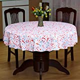100% Cotton Round Tablecloth/ 4 Seater Table Cover For Dining Table 65 Inch (Red&Blue-9)