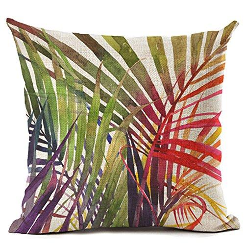 ZHOUBA Federa per cuscino in lino, con foglie e piante verdi tropicali e fiori, arredo per la casa, Lino, 14 Green And Red Leaves, taglia unica