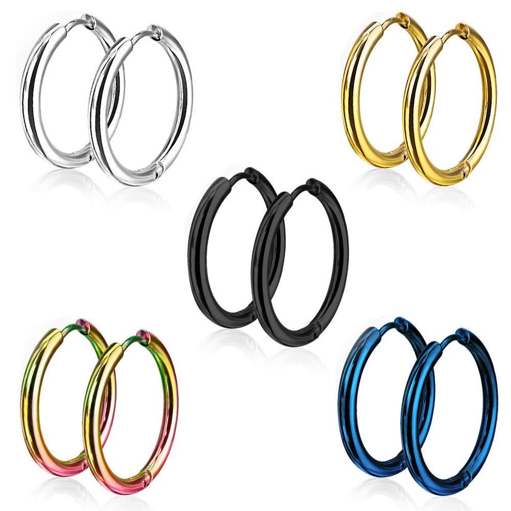 28891f995 5 Pairs 15mm 316L Stainless Steel Huggie Hinged Hoop Earrings for Men  Women, Jewelry Earrings Men Black round, Small Silver Hoop Earrings Set,  Titanium Gold ...