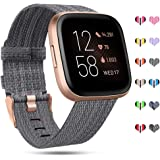 RIOROO Compatible with Fitbit Versa Bands/Versa 2/Versa Lite Strap for Women Men,Versa Accessories Breathable Woven Fabric Sp