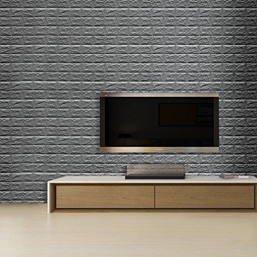 5PCS 3D Ziegel Tapete 70cm x 77cm DIY wasserdichter Wandaufkleber Selbstklebende PE Schaumplatten Brick Tapeten Adhesive Wanddekoration für Fernsehapparat Wände / Sofa-Hintergrund (Silber grau)