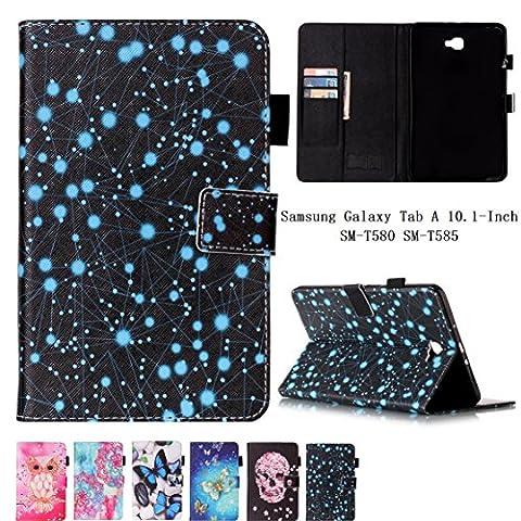 Samsung Tab A6 10.1 Hülle, Z-Newell Ultra Thin PU Leder Tasche Bookstyle Hülle Flip Case Wallet Cover mit Standfunktion Karteneinschub und Magnetverschluß für Samsung Galaxy Tab A 10.1 2016 (SM-T580 \ SM-T585), Stylus enthalten (Design (Hybrid Wallet)