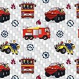 Baumwolljersey Feuerwehrmann Sam Jupiter Lizenzstoff -
