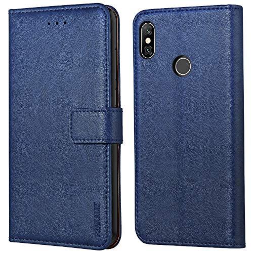 Peakally Xiaomi Redmi Note 6 Pro Hülle, Premium Leder Tasche Flip Wallet Case [Standfunktion] [Kartenfächern] PU-Leder Schutzhülle Brieftasche Handyhülle für Xiaomi Redmi Note 6 Pro-Blau