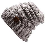 ShallGood 12 Couleurs Décontractée Femme Unisexe Homme Tricoté Laine Beanie Hiver Mode Féminine Hat Bonnets Chapeaux Tricotés Cap Casquette Gris Clair One Size(21*21CM)
