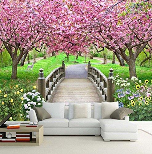 Kuamai Foto Papel Pintado Romántico Cherry Blossom Puente De Madera Naturaleza Mural 3D Estéreo Estilo Pastoral Sala De Estar Dormitorio Telón De Fondo Fresco-120X100cm