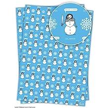 """Carta divertente per incartare i regali di Natale con scritta in lingua inglese """"Christmas is coming Jon Snowman"""" , 2 Sheets"""