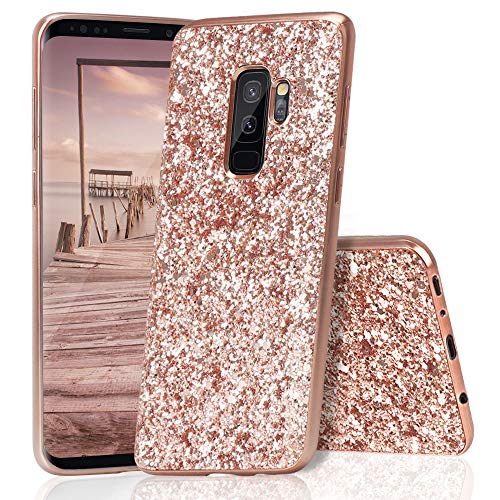 HUDDU Samsung Galaxy S9 Plus Hülle Glitzer Samsung S9 Plus Handyhülle Bling Glitter Case Hart PC Bumper Hard Back Cover Abdeckung Sparkles Luxus Schutzhülle für Samsung Galaxy S9 Plus Rosegold Bling Hard Case Cover