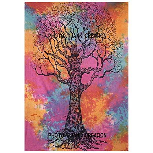 Wandteppich, Motiv: Baum des Lebens, batik-Design, Größe: 216 x 140 cm