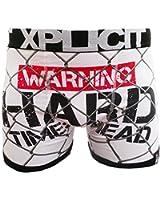 Xplicit Mens Designer 'Warning Hard Times' Novelty Funny Shorts Boxer Trunks