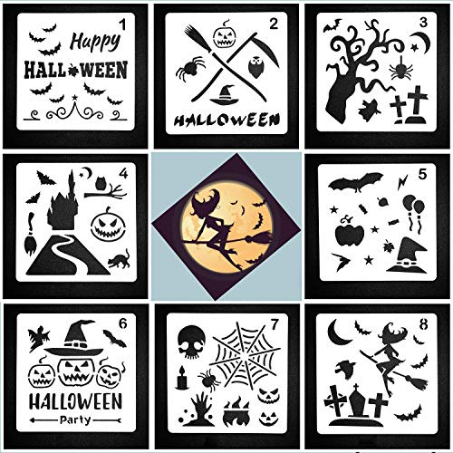 (Lirener 8 Stück Zeichenschablonen Halloween Schablone Kunststoff Zeichnung, Perfekt für Planer/Notebook / Tagebuch/Scrapbook / Graffiti/Karte, DIY Zeichnung Malerei Handwerk, 13x13cm)