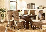 Massivum Nico Esstisch 200x100 + 8 Fineline Stühle, Holz, Kolonial, 100 x 200 x 75 cm