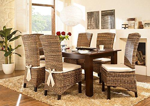 Massivum Nico Esstisch und 8 Fineline Stühle, Holz, kolonial, 100 x 200 x 75 cm