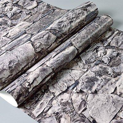 DUOCK Gray 3D di pietra della parete di mattoni di rotoli di carta camera da letto sala da pranzo Soggiorno 3D effetto in finta pietra Wallpaper Rivestimento parete Home Decor, Grigio, 53cm X 10M