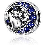Ciondolo a forma di gatto in argento Sterling 925 in una luna con stelle di zirconia cubica blu, compatibile con braccialetti