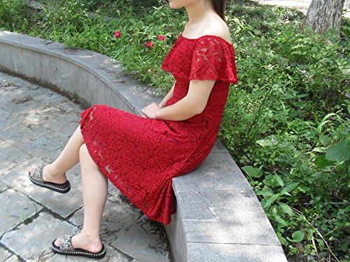 Adodress Frauen Spitze Kurzschluss Abschlussball kleid kurze Hülse weg von der Schulter beiläufigen Swing Cocktail Heimkehr Kleider Rot