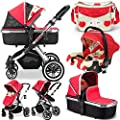iVogue - Apple Luxury 3in1 Pram Stroller Travel System By iSafe + CarSeat+Changing Bag by iSafe