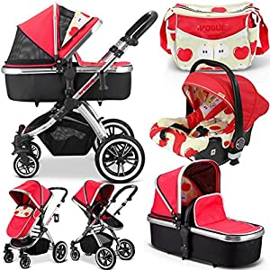 iVogue - Apple Luxury 3in1 Pram Stroller Travel System by iSafe + CarSeat+Changing Bag Babystyle Suitable from birth - 20kg Ideal for twins or close-in age siblings Independent lie-flat reclining seat units,Compact fold, Includes raincover 5