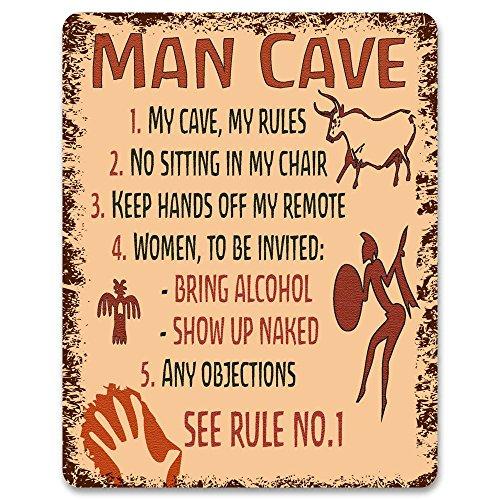 Man Cave Regole-Targa in metallo/