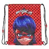 PERLETTI Sacca porta scarpe bambina Miraculous Ladybug - Borsa scarpe impermeabile a pois - Sacchetto portatutto per sport e per viaggio - Rosso e nero - 39x31 cm