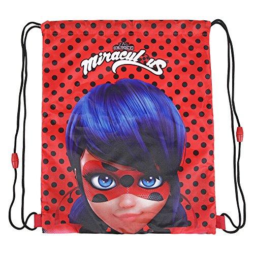 Fashion Bug Kostüm - PERLETTI Miraculous Lady Bug Schuhtaschen für Mädchen - Schuhbeutel Undurchlässig mit Ladybug - Sportsack ideal für Reisen - Rot und Schwarz - 39x31 cm