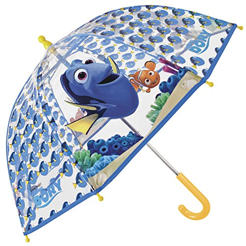 Regenschirm Findet Dorie Disney - Finding Dory Kindershirm - Kinderschirm Findet Dorie mit transparenter Kuppel, robust, windfest - Sicher Kinderregenschirm mit abgerundeten, blockierten Spitzen - manuelle Öffnung