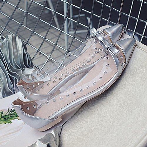 Damen Spitze Zehen Lackleder Ballerinas Pumps Transparent mit Schleife Rutsch Silber