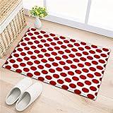 LB Badezimmer Teppiche rutschfeste saugfähige Badematten weichen Duschvorleger (60 * 40 cm) Große rote Punkte,weißer Hintergrund