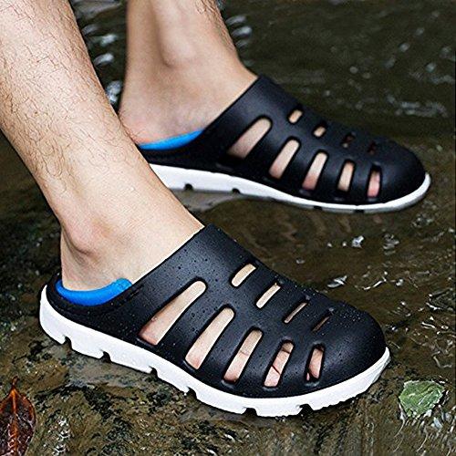 Rutschfest Breathable Clogs Badeschuhe Ultraleicht Flach Hausschuhe Sommer Lässig Sandalen Alltägliche Outdoor Pantoletten Herren Schwarz